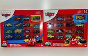 Disney Pixar Cars Mini Racers 15 Pack Hot Rod Mater And 15 Pack Will Ruschship Ww