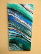 Stunning Abstract Acrylic Painting On Canvas Rough Seas 10 X 20 X 1-1/2