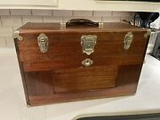 Vintage H Gerstner And Sons Oak Machinists Chest Toolbox W/ Misc Tools Ships Free
