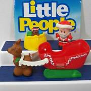 Fisher Price Little People Santa Claus, Christmas Sleigh, Reindeer Holiday Fig