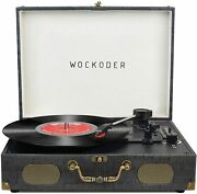 Wockoder Record Player Suitcase Built-in Speaker Classic Vinyl Player Wireless