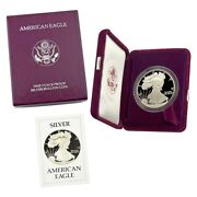 1986 S American Silver Eagle Proof Coin  No Spots  With All Boxes And Coa
