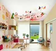 3d Butterfly Music Na3715 Ceiling Wallpaper Murals Wall Print Decal Aj Us Fay