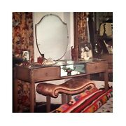 1920s Oak Vanity Mirrored Dressing Table And Bench Set Painted Shabby Furniture