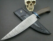 Mozolic Knives Custom Damascus Bowie Fighter Blued Guard Copper Inlay Ladder Pat