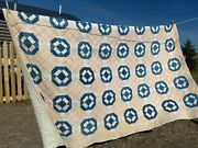 Hole In The Barndoor Quilt Antique Vintage Blues And Calicos Pink Farmhouse Deco