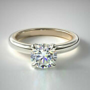 Round Cut 0.50 Ct Real Diamond Engagement Ring 14k Solid White Gold Size 6 7 8 9