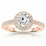 Round 0.70 Ct Real Diamond Engagement Rings 14k Rose Gold Ring Size 6 7 8.1/2