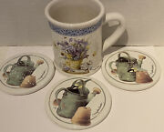Marjolein Bastin Coffee Mug Cup Flowers Bees Water Can Birds And 3 Coasters