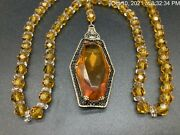 Antique Czech Glass Art Deco Topaz Crystal Filigree Faceted Crystal Necklace 22'