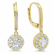 5.54ct Round Cut Halo Drop Dangle Real Cultured Diamond 14k Yellow Gold Earrings