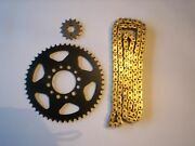 Yamaha Tw200 Tw 200 1995-2012 - 14 F/ 44 R - Sprocket And Standard Gold Chain