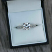 Round Cut 1.50 Ct Natural Diamond Wedding Ring 18k Solid White Gold Size 5 6 7 8