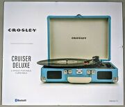 Crosley Cruiser Deluxe Bluetooth Portable Turntable Record Player Turquoise Blue