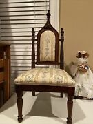 Antique Wood Carved Victorian High Back Throne King Queen Child Doll Chair