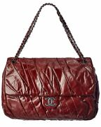 Burgundy Leather Ruched Single Flap Bag Authentic Pre-owned Womenand039s