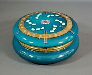 Victorian Moser Glass Painted Enamel Gold Turquoise Jewelry Powder Box Vanity