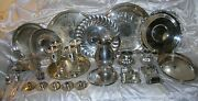 Vintage Lot Of 28 Silver Plate Serving Pieces Wm Rogers Sheridan Monarch Gorham
