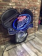 Large Rare Miller Lite Neon Sign Free To Ride Rally For Great Taste Harley