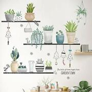 Green Pot Plants Leaves Wall Decals Wall Stickers For Bedroom Leaf Wall Mural As