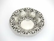 5.25 In Sterling Silver Frank M. Whiting Co. Antique Scroll Round Candy Nut Dish
