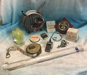 Vintage Office Desk Lot Paperweight Pencil Vase Listo Leads Thermometer Whistle