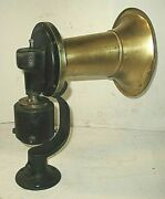 Early Brass Stand Mount Klaxon Automobile Horn Cadillac Packard Rolls Royce