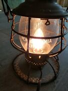 Vintage Pennsylvania Railroad Lantern With Etched Globe. Converted To Electric