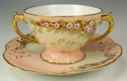 Limoges Hand Painted Raised Roses Footed Cup And Saucer