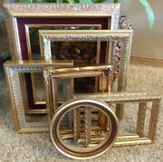 Vintage Gold Ornate Picture Frame Decor Gallery Wall Lot Of 7 Geo Shabby Chic