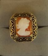 Vintage Shell Cameo Ring In 14k Yellow Gold Antique Estate Jewelry