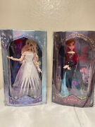 """Frozen 2 Snow Queen Elsa And Queen Anna Limited Edition 17"""" 2 Doll Set With Key"""