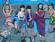 Beatles With Jesus At Beach Painting Kata Billups Showed With Howard Finster