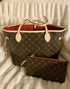 New Louis Vuitton Cherry Red Neverfull Mm Monogram Tote Bag Purse Pouch Sold Out