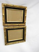 Vintage Gold Faux Bamboo Picture Wall Frames Pair Black Velvet Chinoiserie