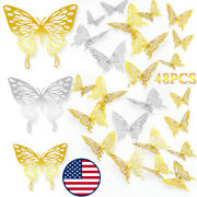 48pcs 3d Butterfly Wall Decor Sticker Removable Self-adhesive Decal For Kid Room