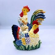 Fitz And Floyd Napkin Holder Ceramic Rooster And Hen Chick Farmhouse Cottage