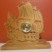 Unique Vintage Handmade Wooden Pirate Ship Clock - Tested And Working