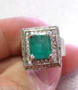 14k White Gold Emerald And Diamond Ring Size 6 Make Offer