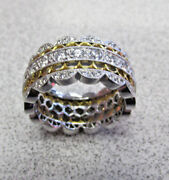 18k White And Yellow Gold Cubic Zirconia Ring Size 6 Brand New Must See
