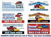 2 Personalized Magnetic Snow Plow Truck Signs Landscaping Jeep Ford Chevy Truck
