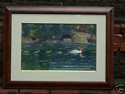 American 19th C. Signed Sporting Watercolor Painting Ducks And Ducklings