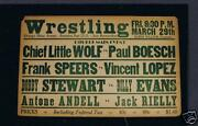 Old Rare 1935 Wrestling Poster Vincent Lopez Speers Boesch Andell Rielly Wolf