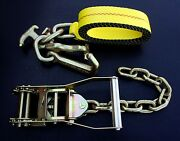 10 Chain Rtj Ratchet Straps Car Hauler Wrecker Flatbed Tow Truck Towing Tie Down