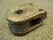 Vintage Wood And Iron Farm Pulley Antique Old Tools Tool