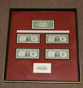 5 Silver Certificates 1 Notes Framed W/ 2 Autographs