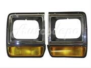 For 86-90 Dodge D150 Pickup / Ramcharger Headlight Door Chrome Set=lh And Rh