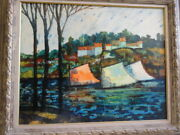 Monumnetal Donald Purdy Early Painting Post Impressionist Sailboats / Early Work