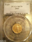 2003 5 Pcgs Ms70 One/tenth Ounce Gold American Eagle