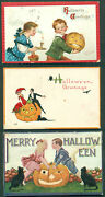 3 Different Halloween Greetings Post Cards Bl5050